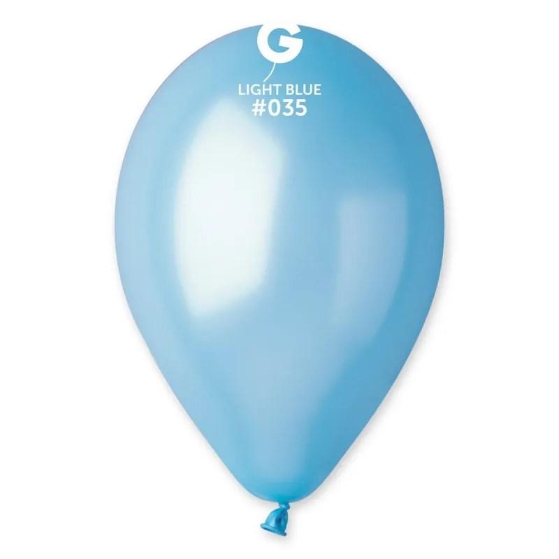 Kummist õhupall metallist läikega helesinine (35)