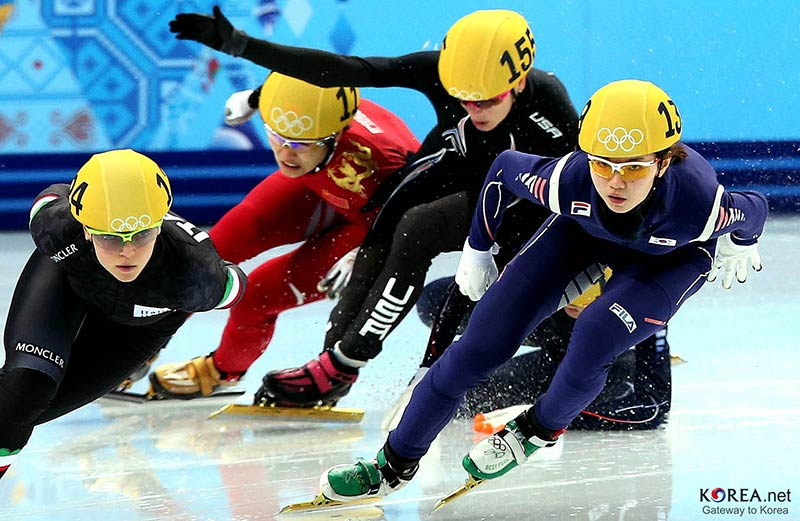 korean short track skaters and Shim Suk hee won her first Olympic Medal in Sochi in action