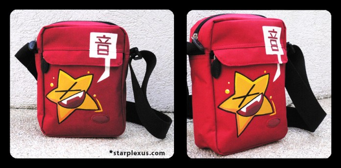 """a tiny bag for essentials. the kanji means """"sound"""" or """"noise"""""""