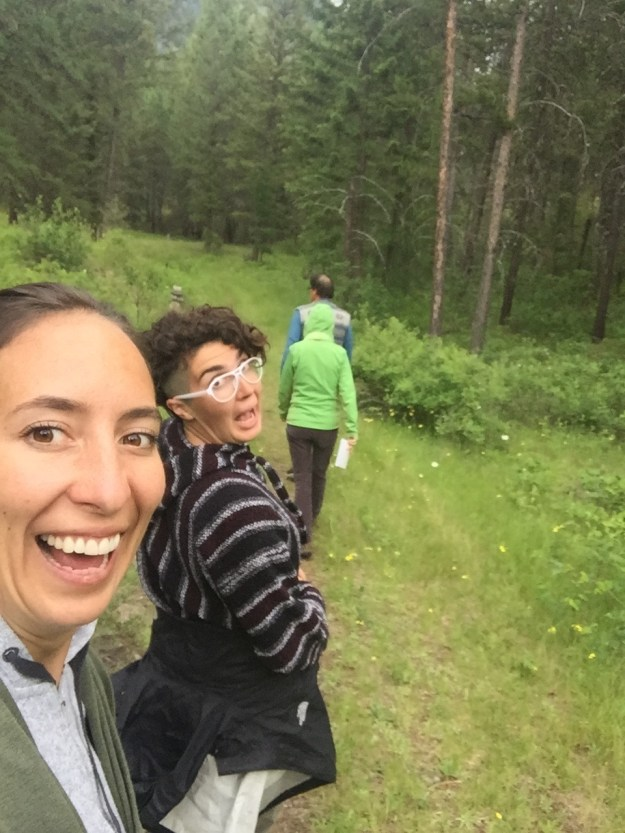 Goofing off on the trail