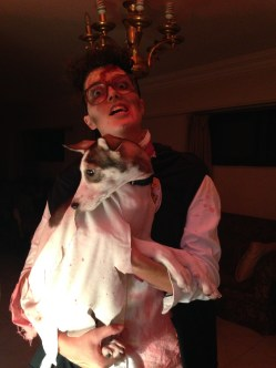 Our couples Halloween costume: zombie Harry Potter and zombie Hedwig