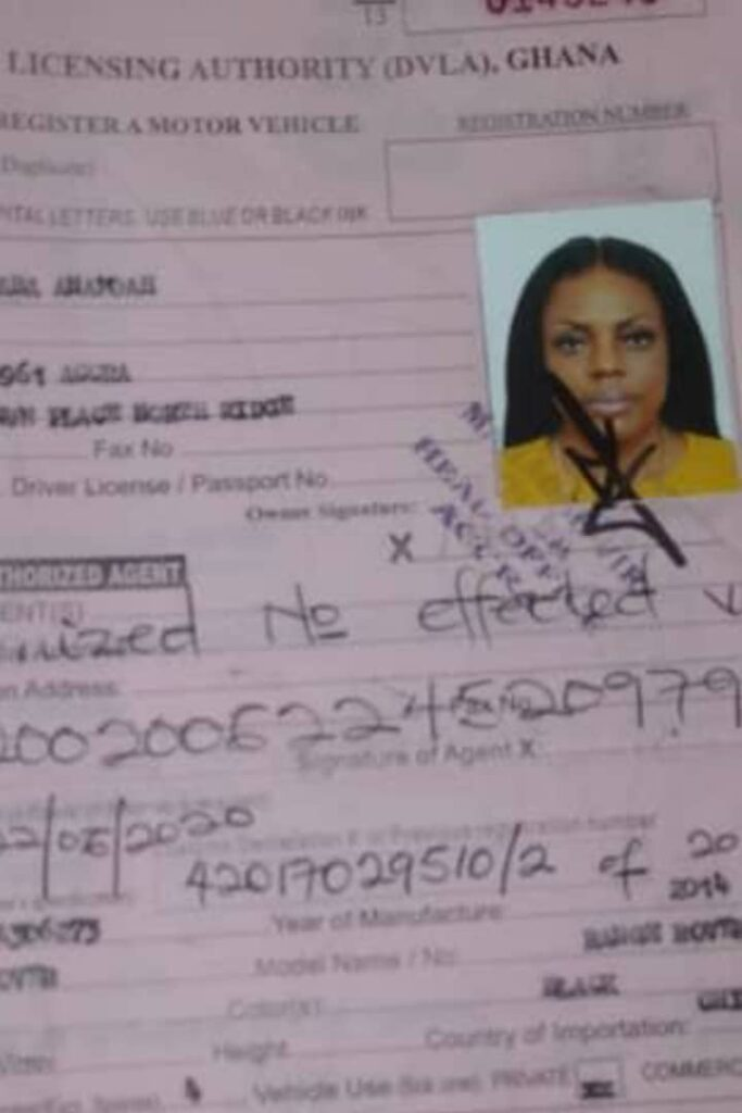 Nana Aba Anamoah fake number plate