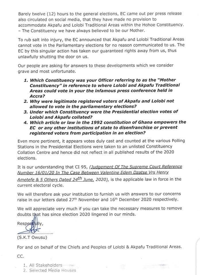 Lolobi, Akpafu chiefs write to EC over exclusion in Parliamentary polls 3