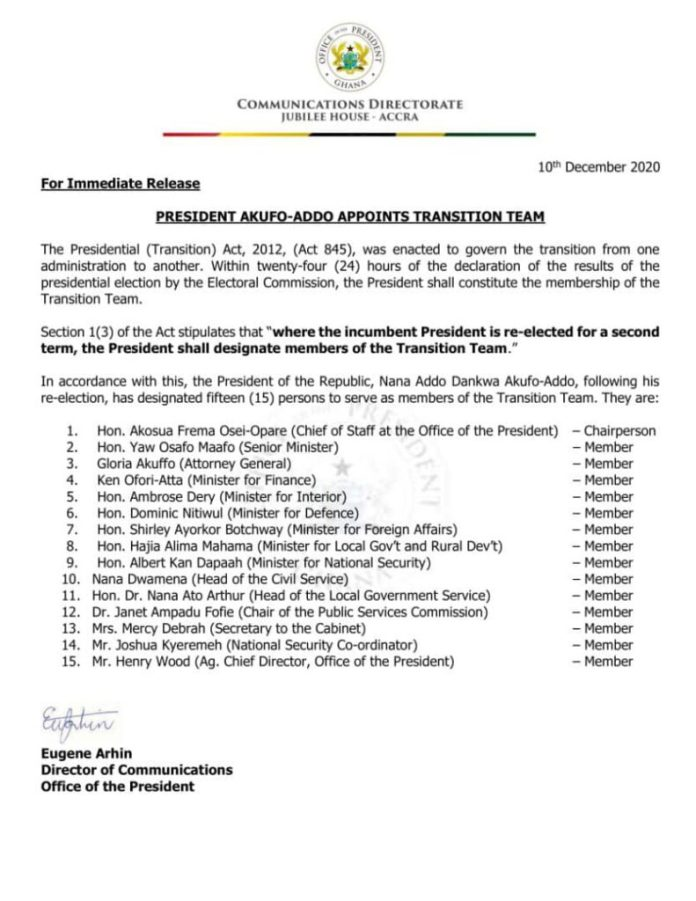 Akufo-Addo appoints 15-member Transition team 2