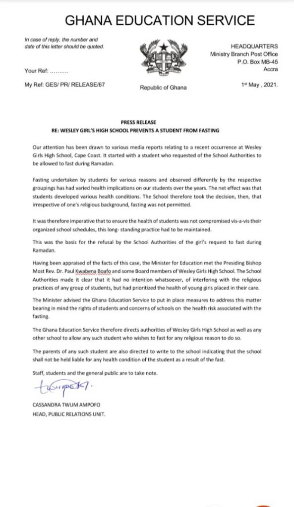 SHS Fasting: Allow parents sign undertakings for the health implications of their wards - GES to SHSs 1
