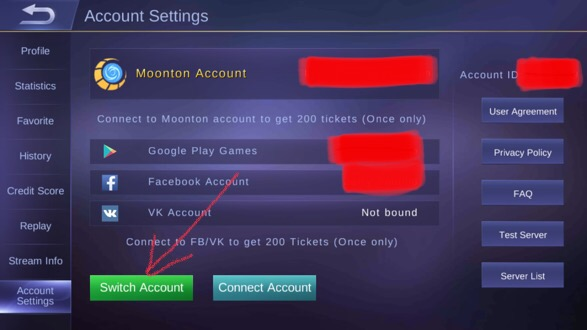 Log in to the existing Mobile Legends account