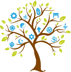 Cartoon tree with symbols of many faiths