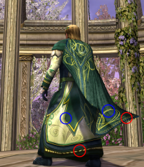 The gold stitching at the hem of cloak refers to the detail at the hem of the robe, and the swirly lines on the cloak and robe refer to one another as well.