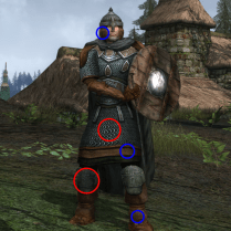 The undyeable greenish-grey area of the boots refers to the mail, which is also undyeable. The undyeable brown sections of the boots, helm, and chestpiece all refer to one another as well.
