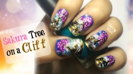 Sakura Tree on a Cliff Nail Art