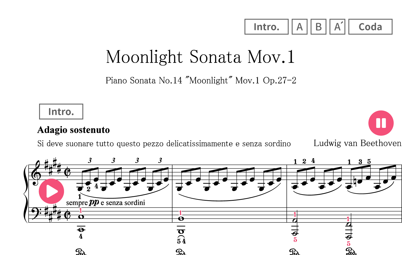 Moonlight Sonata Sheet Music Easy With Letters