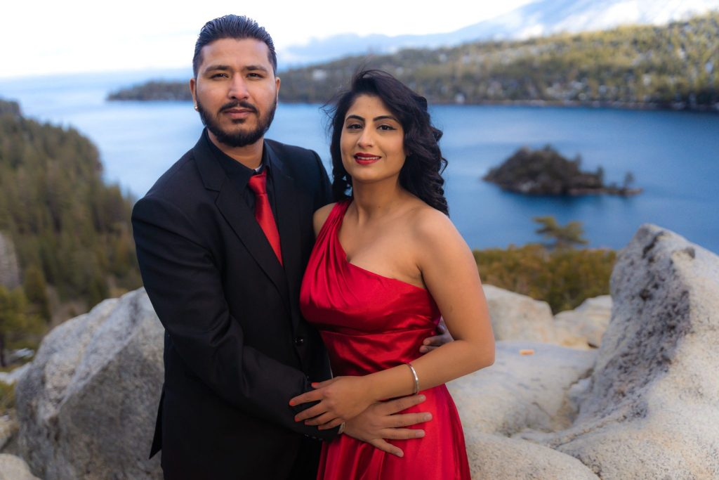 engagement and pre-wedding photo session at Emerald Bay, South Lake Tahoe California