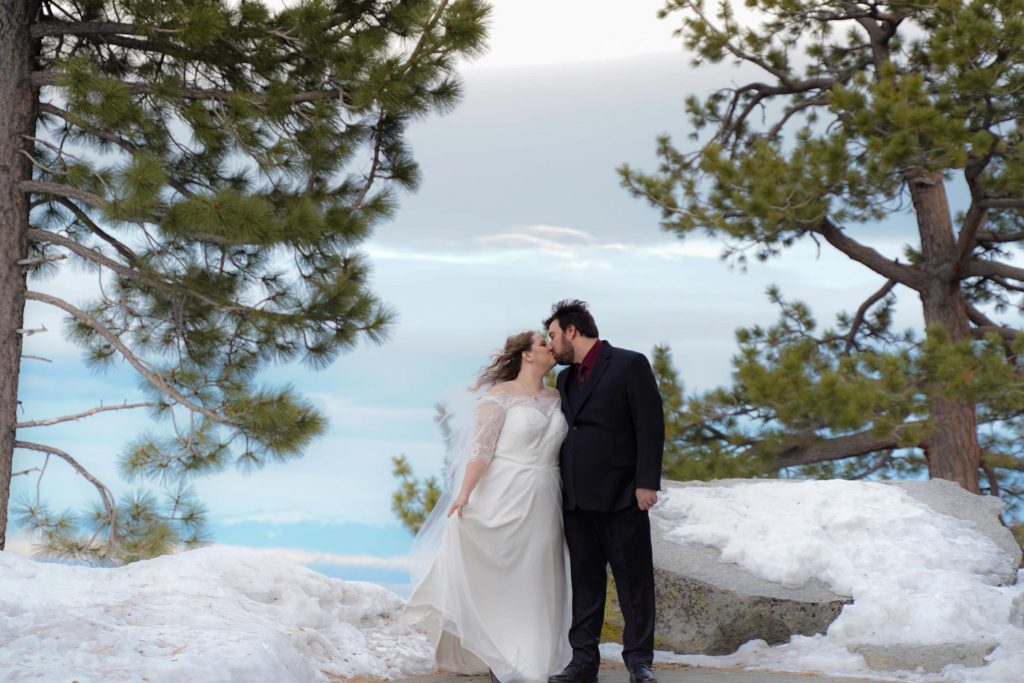 Wedding photography with bride and groom at The Ridge Resort in South Lake Tahoe