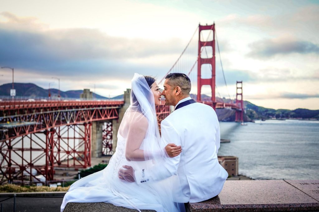 Intimate wedding ceremony at Golden Gate Bridge and elopement in San Francisco, California