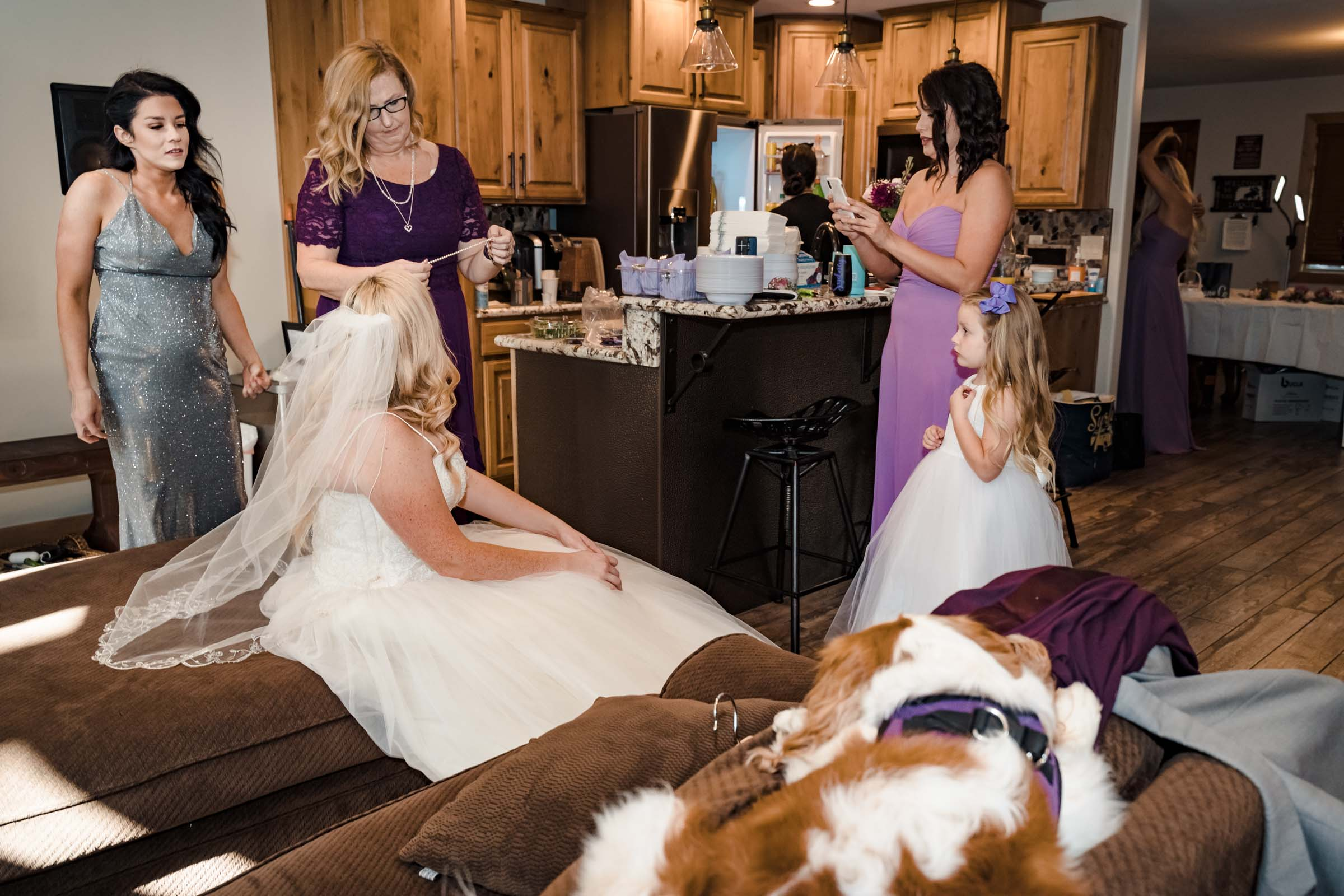 Bride getting ready for small intimate wedding in South Lake Tahoe