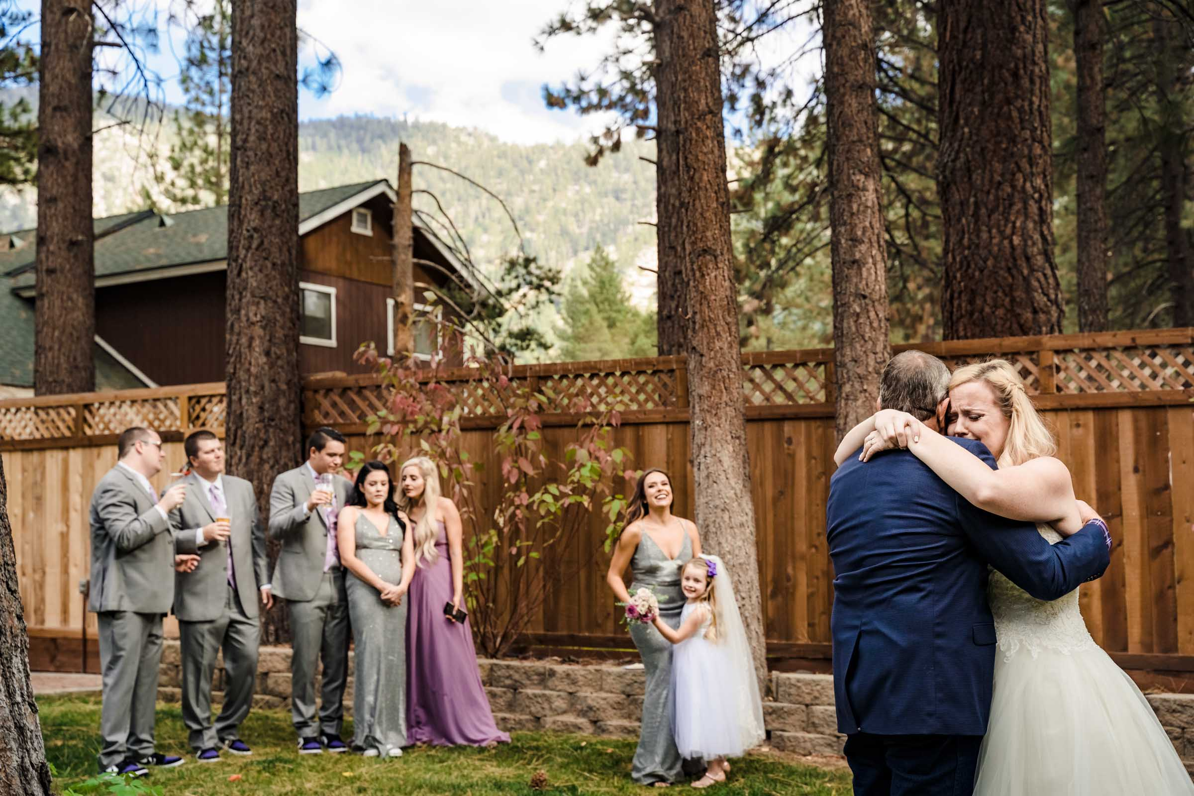 Father daughter dance at an intimate wedding in South Lake Tahoe