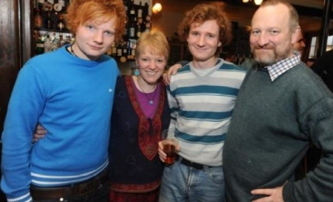 Ed Sheeran's family. [from left] Ed Sheeran, Imogen Sheeran (mom), Mathew Sheeran (brother) and John Sheeran (dad)