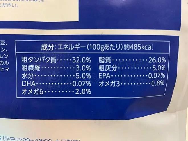 モグキューブドッグフード成分表