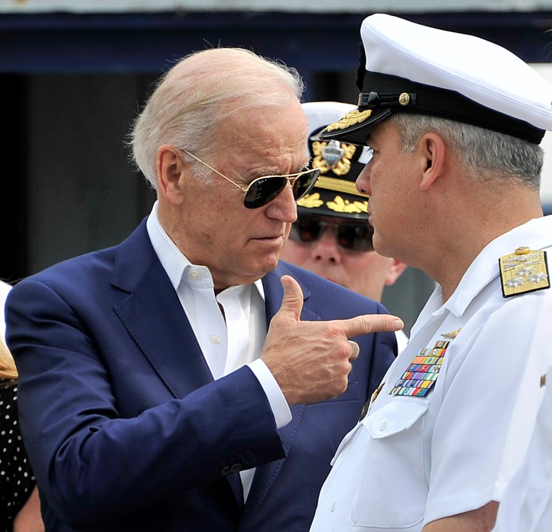 US Vice-President Joe Biden (L) talks with Colombian Vice-Admiral Ernesto Duran, the chief of naval operations, about maritime interdiction and drug trafficking modalities during a visit to Cartagena's Simon Bolivar Naval Base in Cartagena, Colombia, on December 2, 2016. / AFP / GUILLERMO LEGARIA (Photo credit should read GUILLERMO LEGARIA/AFP/Getty Images)