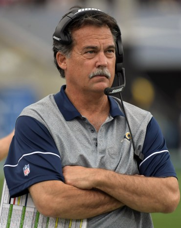 Dec 11, 2016; Los Angeles, CA, USA; Los Angeles Rams coach Jeff Fisher reacts during the game against the Atlanta Falcons at Los Angeles Memorial Coliseum. Mandatory Credit: Kirby Lee-USA TODAY Sports