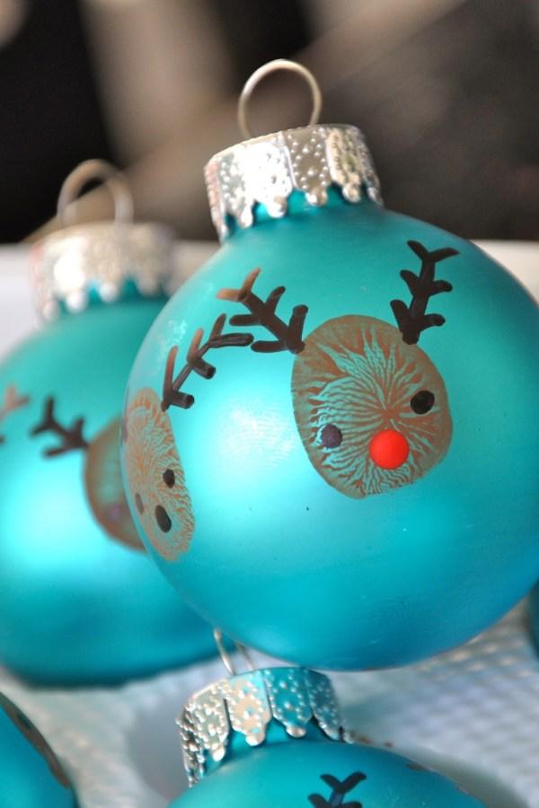 Thumbprint Reindeer Ornaments Kids