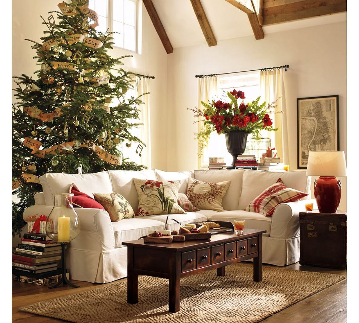 christmas decorating ideas for sofa table navy blue pillows 50 stunning decorations your living room