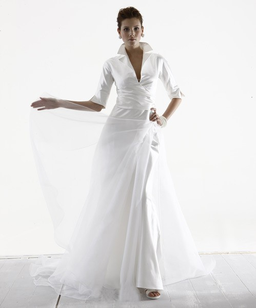 The mature bride and also the modern wedding gown