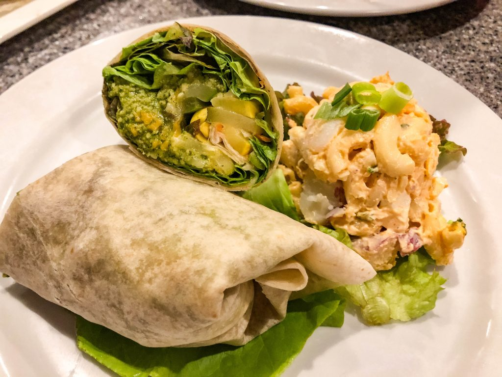 Veggie wrap with a side of macaroni and potato salad from Pineapples restaurant Hilo