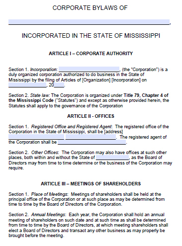 Free Mississippi Corporate Bylaws Template  PDF  Word