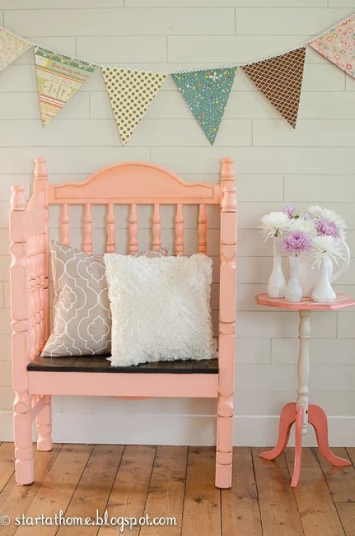 10 ways to repurpose a baby crib - make a sweet seat