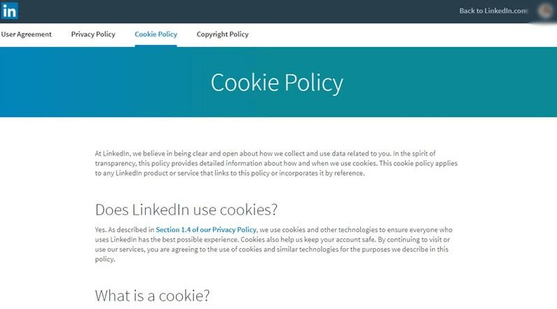 cookie policy page example