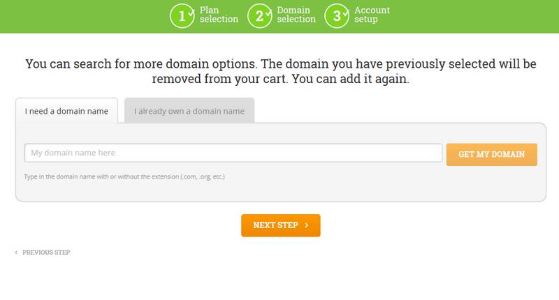 Hostpapa domain selection