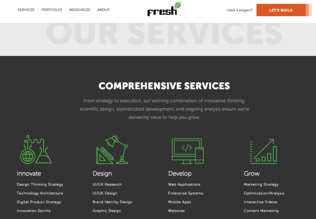 services page example