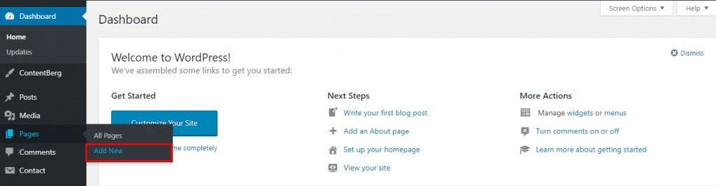 page vs post wordpress - add new page