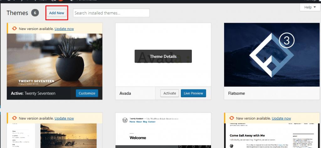 Click add new theme button