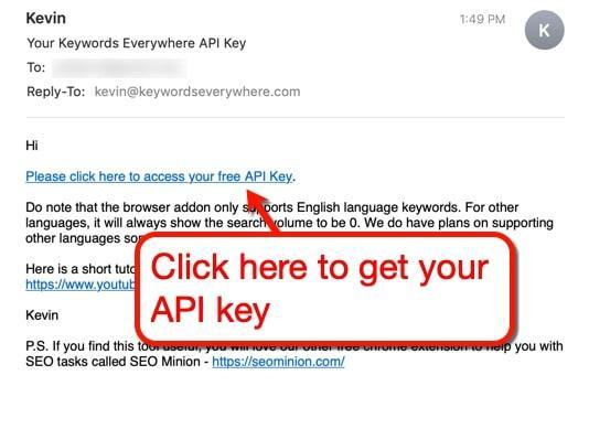 Keywords Everywhere API key