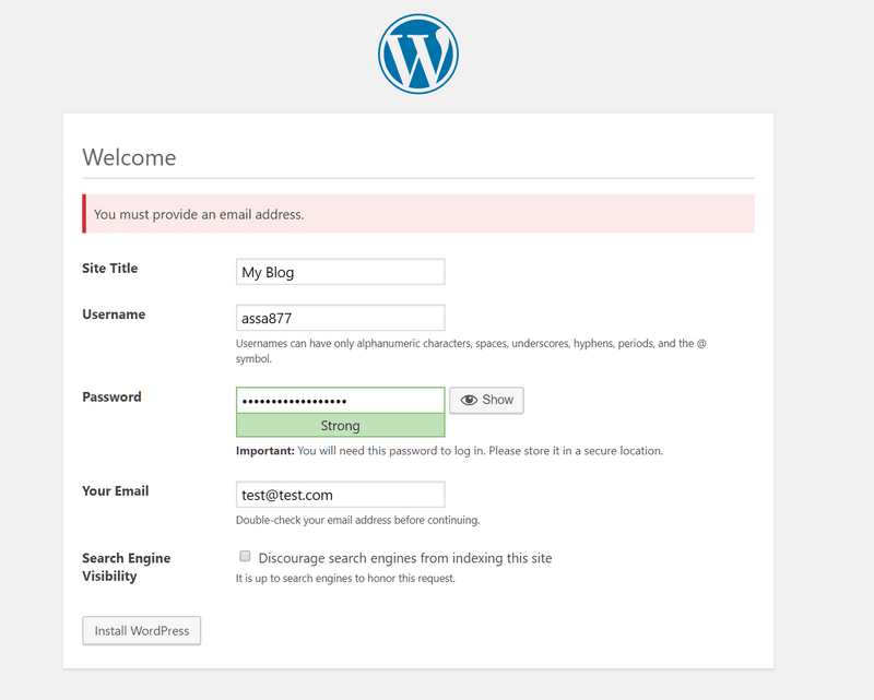 wordpress install detail