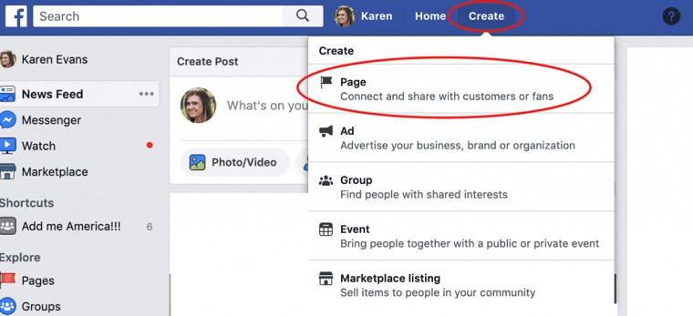 Create Facebook page for a blog