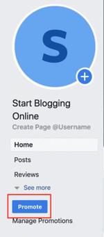 Facebook promote tab