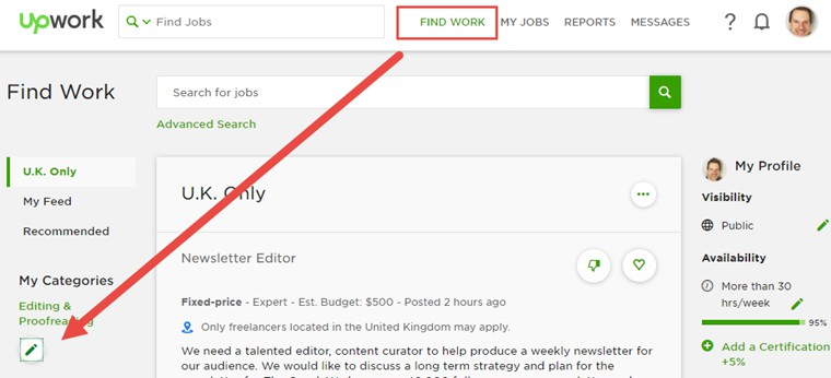 Finding work and clients on Upwork