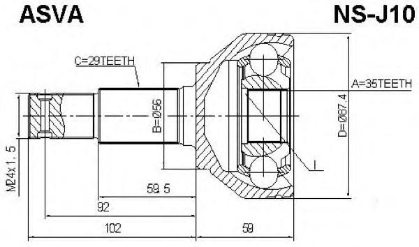Шрус наружный правый ASVA NS-J10 (C9211-JA00A) для QASHQAI