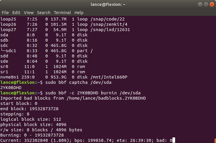 Ubuntu terminal bad blocks finder burnin