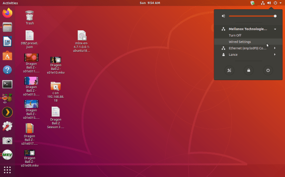 "Click the arrow in the top right of the Ubuntu desktop, click on the network card and select ""Wired Settings"""