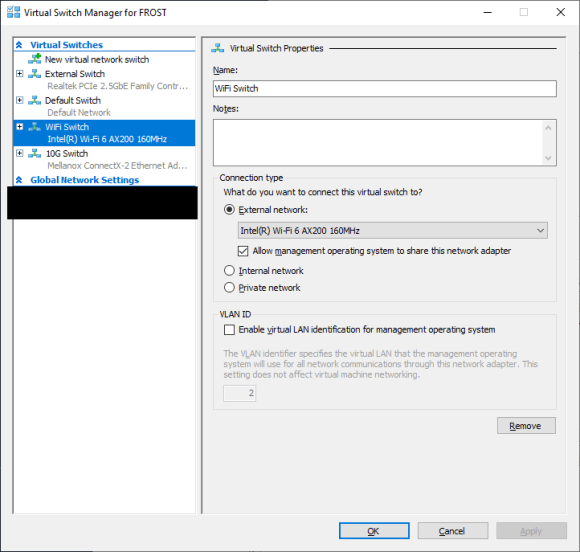 """Virtual Switch Manager in Hyper-V shows a virtual switch called """"WiFi Switch"""" using the computer's Wi-Fi network adapter."""
