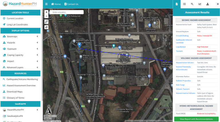 Sample HazardHunterPH Results for Manila City Hall, Philippines location.
