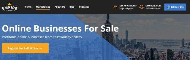 Снимка на Основна страница на бизнес пазара Empire Flippers