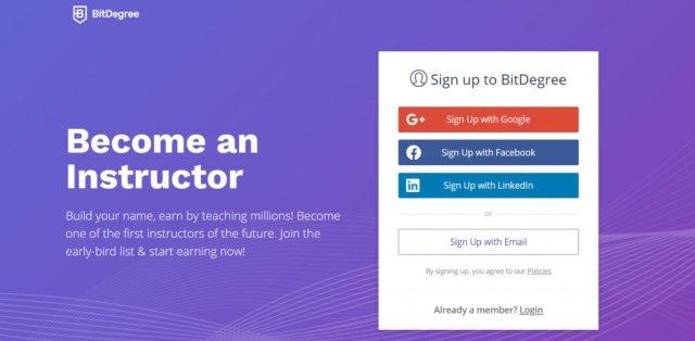 Страница за регистрация на инструктори на сайта BitDegree