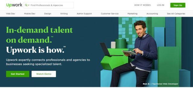 Снимка на главната страница на сайта за фрийланс Upwork