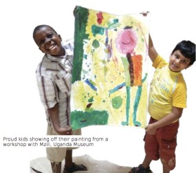 Proud kids showing off their painting from a workshop with Mzili, Uganda Museum