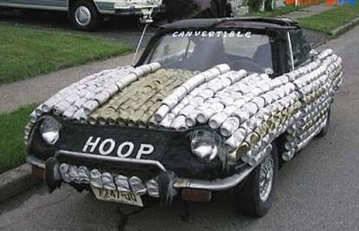 Recycled cans car art